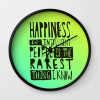 hemingway Wall Clocks featuring Hemingway: Happiness by Leah Flores