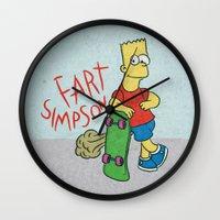 simpson Wall Clocks featuring FART SIMPSON by Josh LaFayette