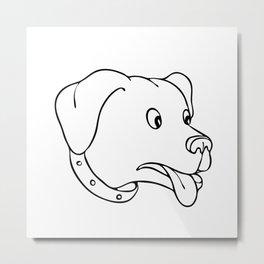 Labrador Retriever Surprised Drawing Metal Print