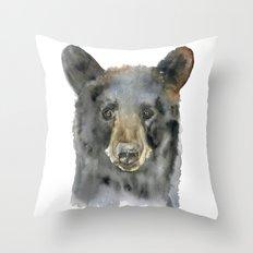 Black Bear Watercolor Throw Pillow