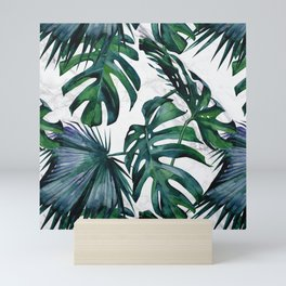 Tropical Palm Leaves Classic on Marble Mini Art Print