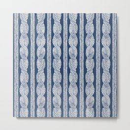 Cable Knit Navy Metal Print