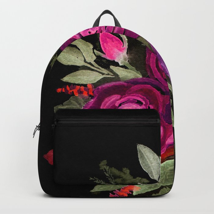Purple roses on a black background. Watercolor . Backpack