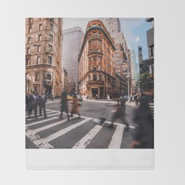 Afternoon Rush in Downtown Manhattan Throw Blanket