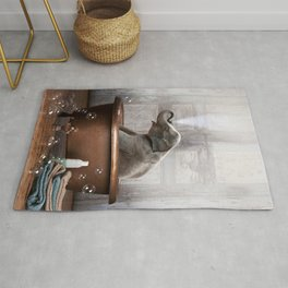 Elephant in Vintage Bathtub Rug