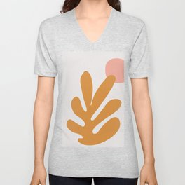 matisse orange leaf cutoff- modern art Unisex V-Neck