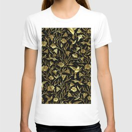 Black and gold foil humming birds & leafs pattern T-shirt