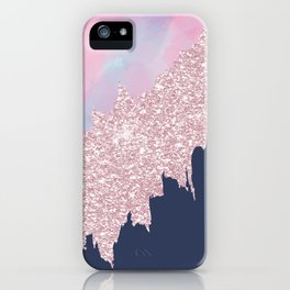 Pink navy blue watercolor brushstrokes glitter iPhone Case