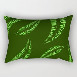 Pattern of green leaves of a palm tree on a green background. Rectangular Pillow
