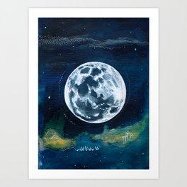 Full Moon Mixed Media Painting Art Print