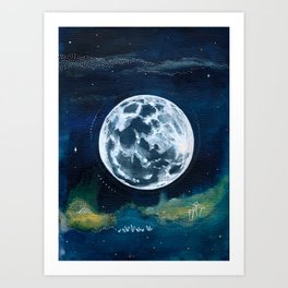 Full Moon Mixed Media Painting Art Print
