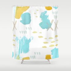 Summer blue yellow abstract Shower Curtain