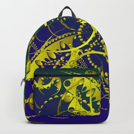 Abstract pattern of azure curls and yellow stems of plants on a green and blue background. Backpack