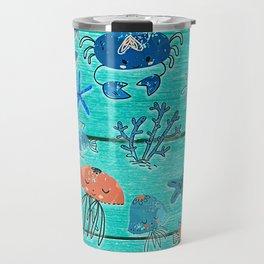 Blue & Orange Under the Sea Travel Mug