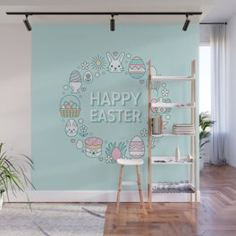 Happy Easter Wreath Aqua Bunny Eggs and Baskets - Pastel Teal Wall Mural