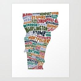 Hand Lettered Vermont City Print Art Print