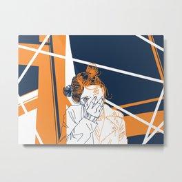 Girl and geometry Metal Print