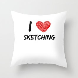 I Love Sketching Throw Pillow