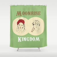 moonrise kingdom Shower Curtains featuring Moonrise Kingdom  by Sheena White for Winsome Gallery