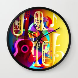 Colorful music instruments with guitar, trumpet, musical notes, bass clef and abstract decor Wall Clock