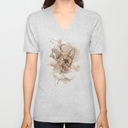 Watercolor Sphynx (Sepia/Coffee stain) Unisex V-Neck