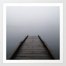 Foggy Mountain Lake Dock Art Print