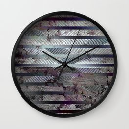 406 14 Lavender Floral Stripes Wall Clock