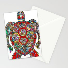 Colorful Sea Turtle Abstract Mandala Stationery Cards