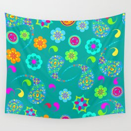 Green Paisley № 5 Wall Tapestry