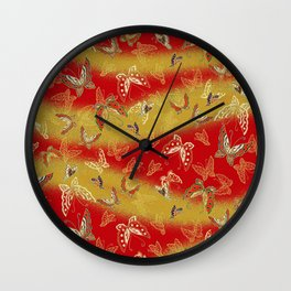 Red and Gold butterflies pattern Wall Clock