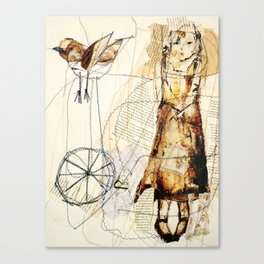 girl with bird Canvas Print
