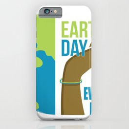 Earth day is every day, Hand holding a globe iPhone Case