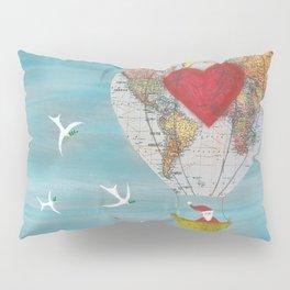 Christmas Santa Claus in a Hot Air Balloon for Peace Pillow Sham