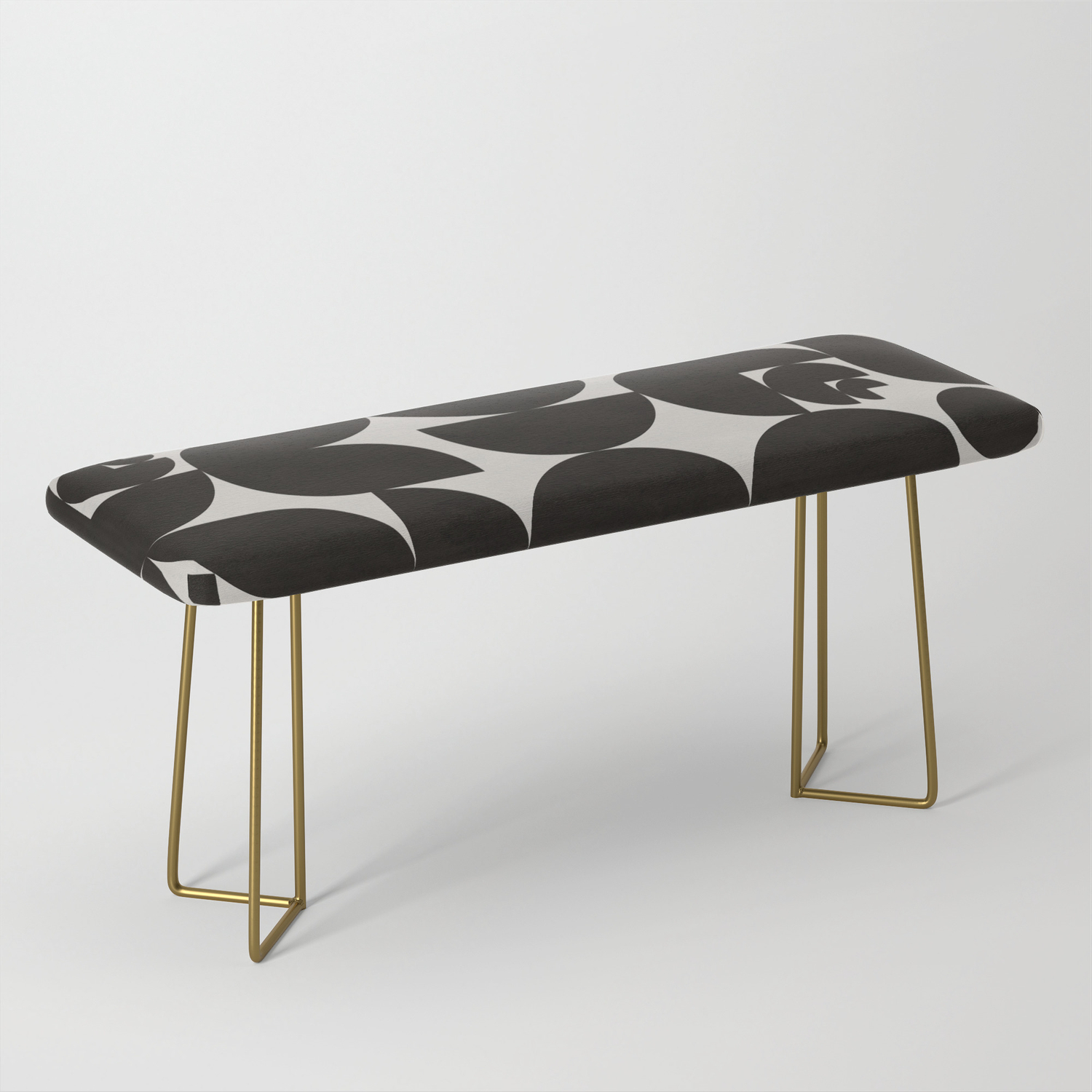 Black White Mid Century Modern Pattern Bench By Alisagal