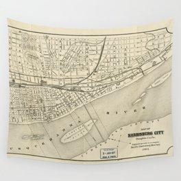 Map of Harrisburg, Pennsylvania (1884) Wall Tapestry