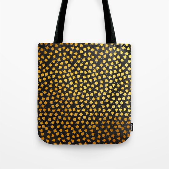 AUTUMN - small gold leaves on chalkboard background Tote Bag