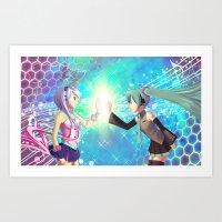 Hatsune Miku & Maika Art Print
