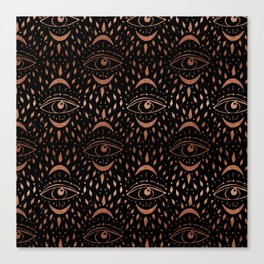 Mystic Eye - copper, rosegold, black and gold, copper, tarot modern trey Canvas Print