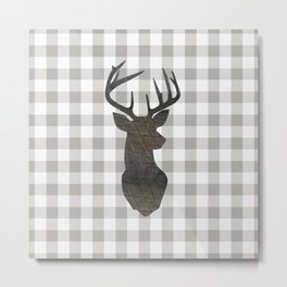 Rustic Farmhouse Decor, Stag Deer, Gingham Pattern, Grey and White Metal Print