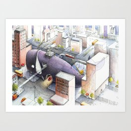 Whale Belly Up Art Print