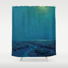 Coast of Tuscany, Italy under a Blue Moon landscape painting by Granville Redmond Shower Curtain