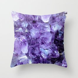 Amethyst Crystals Throw Pillow