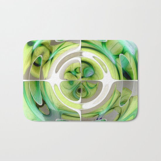 Lime and Green Abstract Collage Bath Mat