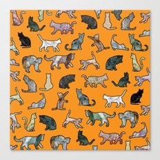 Cats shaped Marble - Black Orange Halloween Canvas Print