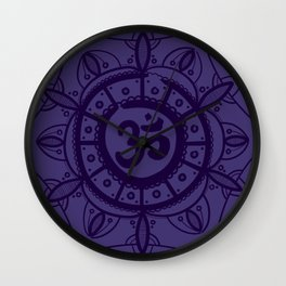 Ohm Mandala - Purple Wall Clock