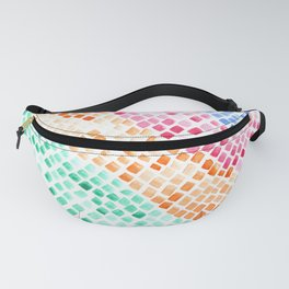 Ocean Watercolor Tiles Mosaic Square Colourful Abstract Art Fanny Pack