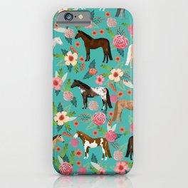 Horses floral horse breeds farm animal pets iPhone Case
