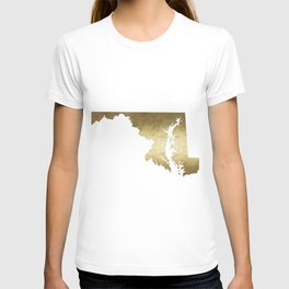 maryland gold foil state map T-shirt