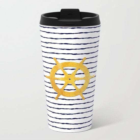 Marine pattern- Navy blue white striped with golden wheel Metal Travel Mug