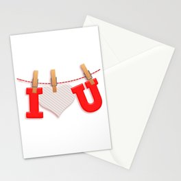 I Love You with Clothespin Stationery Cards